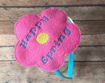 Happy Spring Headband Slider Embroidery Design