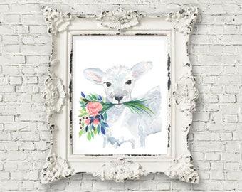 Watercolor lamb print of original watercolor painting 8x10, floral watercolor print, lamb nursery print, nursery decor, nursery art 8x10