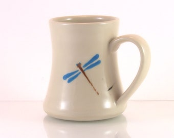 Dragonfly pottery mug,  Ceramic mug,  dragonfly design,  perfect Gift for her,  Wheel-thrown cup, Pottery gift for mom.