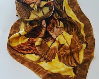 Pure silk shiny scarf vintage