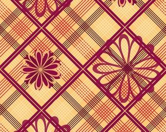 "Cranston VIP ""Daisy & Plaid - Sage"" 100% Cotton Fabric"