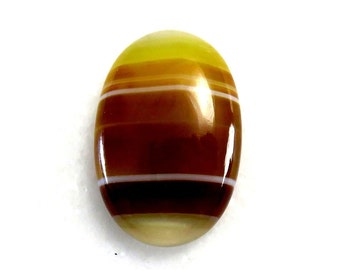 Yellow Botswana Agate Oval Shape Cabochon Loose Gemstone Jewelry Making Semi Precious Wholesale Stone 30Cts 30X20X6 mm B-2011