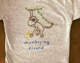 Monkey Embroidered Shirt