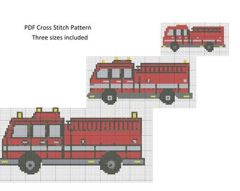 FireTruck Cross Stitch Pattern, Cross Stitch Patterns, Counted Cross Stitch, FireTruck Pattern XStitchEverything, Cross Stitch Fire Truck