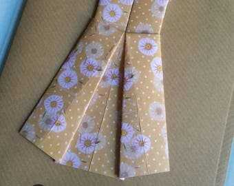 """Origami floral dress 'Thank You' card. 5x7"""""""