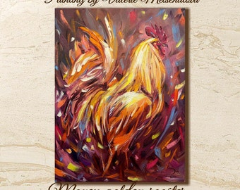 Rooster painting, Money, Cock, Rooster art, Bright painting, Original painting, New Year gift, Symbol 2017 , Fire cock, Fine Art, Golden