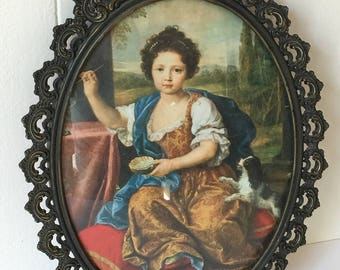 Vintage Framed Picture, Picture of Young Girl With Dog, Plated Antique Metal Framed Picture