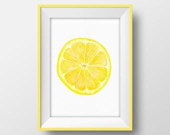 Lemon Slice Printable Citrus Poster Tropical Fruit Wall Art Lemon Print Yellow