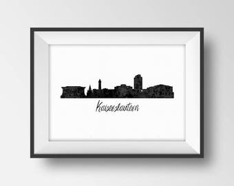 Kaiserslautern Skyline Print, Germany Cityscape Poster, Printable art, Watercolor City Silhouette, Black White Wall Decor, Office Decoration
