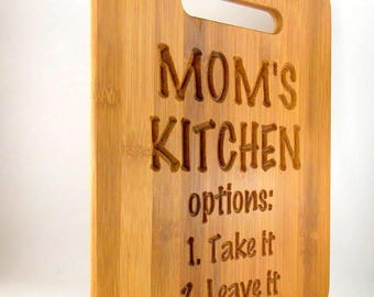 Mom's Kitchen Small Bamboo Cutting Board, FREE SHIPPING in USA, Mother's Day gift, Wood Router Carved Cutting Board, home decor