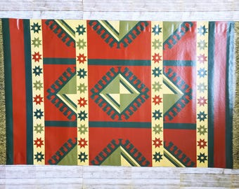 Red Kazaak Oriental Painted Floor Cloth, canvas rug, floorcloth