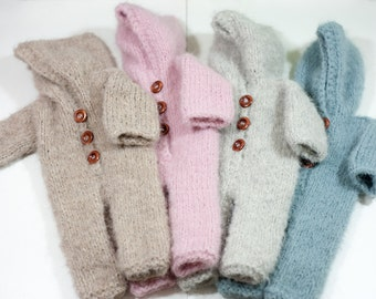 Knitted newborn coverall