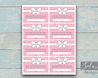 Pink Baby and Co Themed Baby Shower Diaper Raffle Tickets Pink and White Raffle Ticket