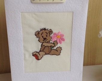 Machine embroidered Birthday card with teddy holding a flower