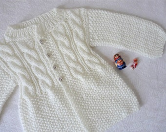 Baby sweater hand knitted, Sweater baby hand knitted wool, Sweater 0-12 mois hand-knitted, newborn 0-12 months, cardigan for baby