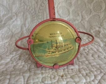Vintage Pink Souvenir Memphis Tennessee Salt & Pepper Shaker Holder - Made in Japan - White Riverboat on Water