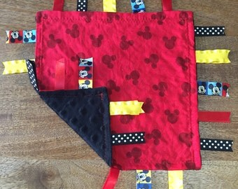 Black and Red Mickey Mouse Minky Tag Blanket // Security Blanket // Ribbon Blanket // Teething Blanket