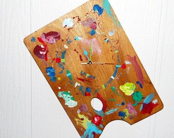 Artist Pallet Wall Clock, Interior Decor, Kids Room, Family Room, SteamPunk, Artsy, Colorful, Whismical