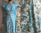 Vintage 1950s/1960s Elsie Krassas Turquoise Hawaiian Gold Printed Cotton Wiggle Dress. Small. Polished cotton, screenprinted.