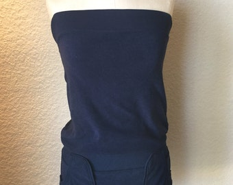 Terry Cloth Navy  Strapless ROMPER DRESS with Side Pockets Swimsuit Coverup POOL Lounge Wear