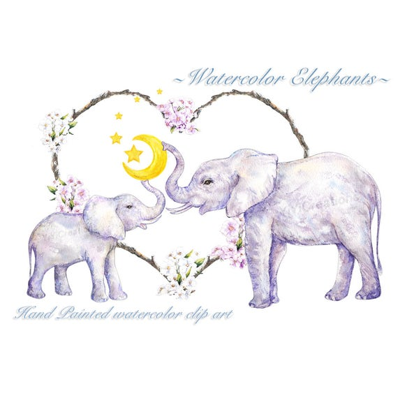 watercolor elephant clipart mothers day love animal