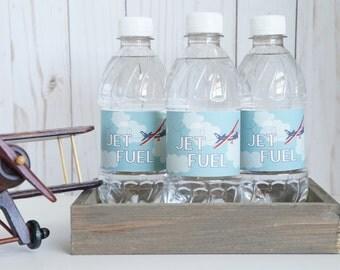 Vintage Airplane Water Bottle Labels,  Airplane Themed Water Bottle Labels,  Red Airplane Bottle Label- SET OF 12+