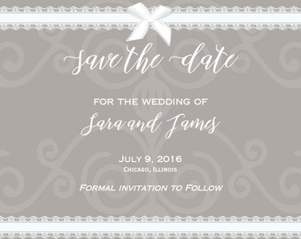 Vintage Lace and Bow Wedding Save the Date