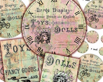 Antique Toy Clock Faces - DIY Printable Set of Clock Faces in Various sizes - Shabby Chic 8 inch-4 inch - 3.5 inch... Scrapboking Journaling