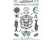 Temporary Tattoos for Kids of All Ages. Original Artwork, Traditional Tattoos, Illustration
