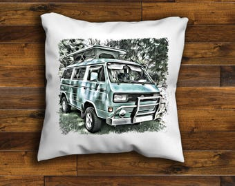 VW Camper Van T25 Cushion Cover Unique Design 16 or 18 inch  Handmade with a zip