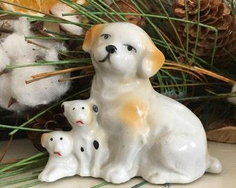 Vintage Dog Mama and Puppies Figurine - Japan