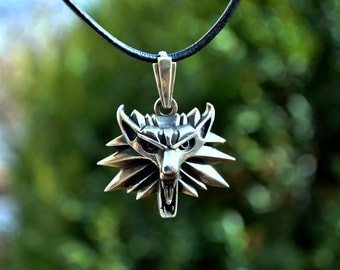 Witcher pendant, Wolf pendant, Amulet Wolf, Brass pendant, gift for him, mens jewelry