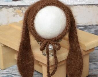 Newborn bunny hat, Newborn Bunny outfit,Angora bunny bonnet, newborn bunny hat, newborn knit prop, newborn photography prop,Angora
