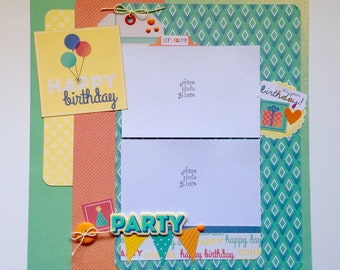 Premade Scrapbook Layout, Two pages, 12 x 12, Happy Birthday
