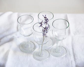 SALE! set of 4 / recycled bottle drinking wine glasses / neutral transparent glass / recycled glasses / 350 ml / zero waste glasses
