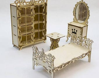 Bedroom Dollhouse / Doll furniture / Bed Dollhouse / Doll wardrobe / Doll mirror / Bed for Barbie / Dollhouse Miniature Bedroom