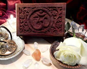 Om Hand Carved Altar Box