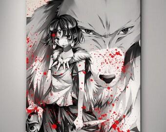 Princess Mononoke Poster Studio Ghibli Watercolor Print Anime