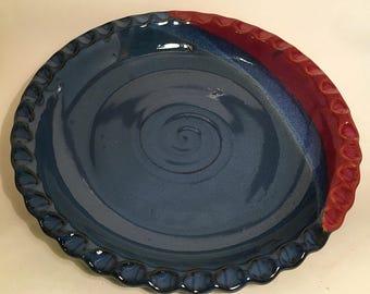 Pottery pie plate, ceramic pie plate, stoneware pie plate, wheel thrown pie plate, handmade pie plate, red and blue plate, red and blue pie