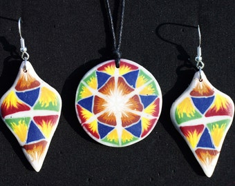 Tribal triangle mandala fimo necklace and/or earrings