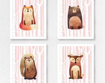 Woodland Animals Set 4 Prints - Full Animal - (Fox/Deer/Bear/Squirrel)