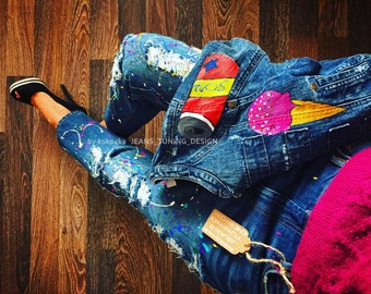 Torn Jeans boyfriend Hand made Exclusive Jeans blots Jeans in the spray Blots on jeans Spray paint jeans painted Paint splatter Art Pop-Art