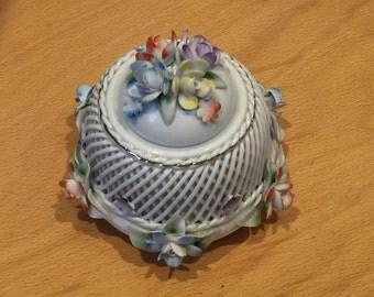 Vintage flower encrusted pot with lid