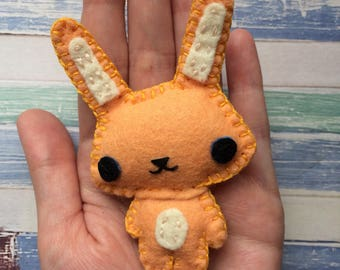 Chibi orange felt bunny