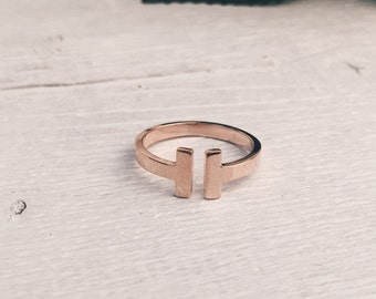 Minimalist Wrap Ring Open Cuff Ring Titanium with Rose Gold Plated