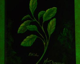 BASIL  paintings of herbs  kitchen decor  still life paintings  basil paintings  art for kitchens