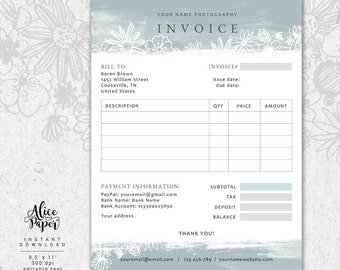 Invoice Template, Photography Invoice, Receipt Template For Photographers, Business Invoice, Photography Forms, Photoshop Template, PSD File