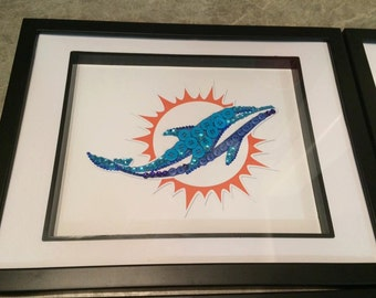 "Miami Dolphins Button Art - 8""x10"" - Unframed"