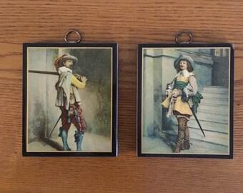 Vintage Miniature Musketeer Prints on Wood- Ready to Hang Miniature Art Prints- Art Print Reproductions