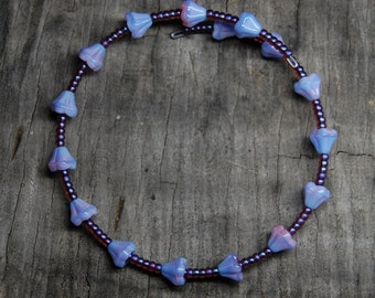 czech flower purple seed bead bracelet